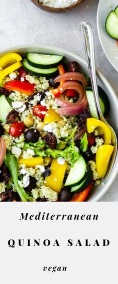 This vegan Mediterranean quinoa salad recipe is delicious! It's easy to make, healthy and gluten-free. Serve up this recipe as a side or a main everyone will love! #quinoasalad #healthyrecipes #quinoarecipes #glutenfreerecipes Quinoa Salad Recipes Easy, Salad Dressing Recipes, Delicious Vegan Recipes, Raw Food Recipes, Vegan Food, Dinner Recipes, Healthy Recipes, Mediterranean Quinoa Salad, Mediterranean Recipes