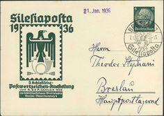 """Germany, German Empire, Deutsches Reich 1936, 6 Pfg.-GA-Privatpostkarte """"Silesiaposta"""", mit Sonderstempel, gelaufen, ohne Inhalt (Mi.-Nr.PP127C16). Price Estimate (8/2016): 15 EUR. Unsold."""