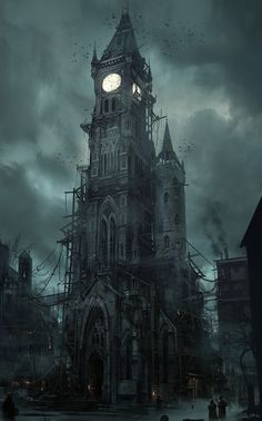 Gothic Tower which actually looks a little bit like the darker twin of Big Ben - drawing reference for a dark or even steampunk setting Gothic Horror, Horror Art, Horror Comics, Fantasy Places, Fantasy World, Steampunk Kunst, Steampunk Clock, Steampunk Artwork, Gothic Steampunk