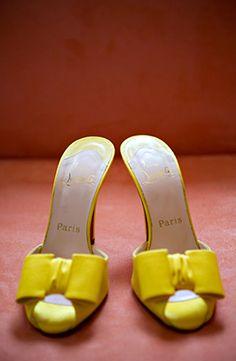 christian louboutin yellow bow peep toe