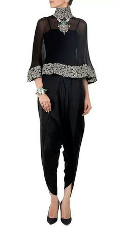 Anamika Khanna presents Black capelet available only at Pernia's Pop-Up Shop. Robes Western, Western Dresses, Indian Dresses, Indian Outfits, Indian Fashion Designers, Indian Designer Wear, Blouse Ethnique, Anamika Khanna, Hijab Fashion
