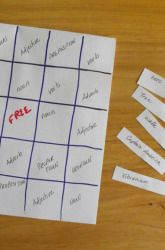 Activities: Parts of Speech Bingo idea. Have students put a name of a part of speech in each square (noun, adj., pronoun,verb, adverb, proper noun) then call out words such as jump and they can mark out their verb box. First to get 5 in a row wins!