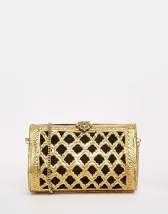 From St Xavier Gold Weaved Clutch Bag with Black