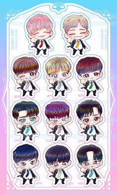 WANNa one chibi energetic Kpop Fanart, Got7 Fanart, Cartoon Stickers, Tumblr Stickers, Cute Stickers, Jinyoung, Jaehwan Wanna One, Exo Anime, Ong Seung Woo