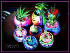 Macetas para Cactus pintadas a mano