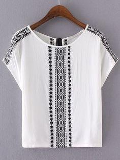 Buy White Embroidery Key-hole Tassel Back Blouse from abaday.com, FREE shipping Worldwide - Fashion Clothing, Latest Street Fashion At Abaday.com