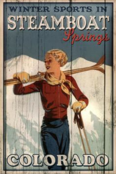 Winter Sports in Steamboat Springs Colorado Ski Art Print Poster in Posters & Prints Winter Sports, Steamboat Springs Skiing, Vintage Ski Posters, Retro Posters, Movie Posters, Theme Sport, Cities, Steamboats, Poster Prints
