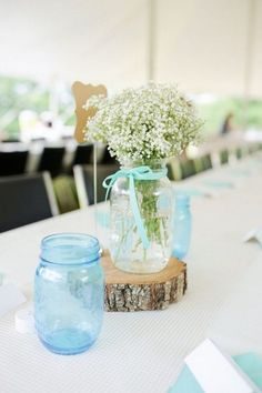 Rustic Baby Breath Mason Jar Wedding Centerpiece