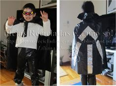 Passo a passo de Fato de Drácula, feito com sacos de plástico. Artesanato e Reciclagem. Carnaval e Halloween