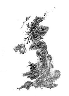 United Kingdom hillshade map| poster | high resolution digital map | UK | | printable