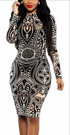 1d313568627 New 2016 Summer Vintage Long Sleeve Print Party Dresses Retro Plus Size  Women Clothing Casual Bodycon