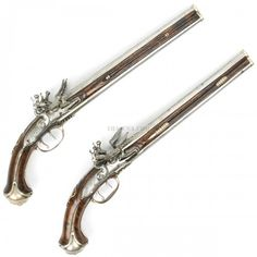 Original French Century Silver Mounted Over-Under Double Barreled Flintlock Pistol Pair with Rare Waterproof Pans Flintlock Pistol, Seven Years' War, Double Barrel, Fantasy Weapons, Crossbow, Guns And Ammo, 17th Century, Firearms, Hand Guns