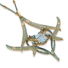 An important Rene Lalique dragonfly pendant, the pendant set to the centre with a cushion-shaped aquamarine, within an open framework of four opposing dragonflies decorated with plique-a-jour enamel wings, embellished with circular- and rose-cut diamonds, to a green enamel baton link chain, measuring approximately 520mm in length, signed Lalique, with original fitted case by R.Lalique, 40.Cours, La Reine, Paris