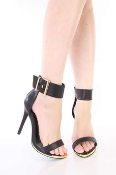 Black Faux Leather Ankle Strap Heels