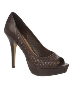 Look what I found on #zulily! Brown Embossed Edith Peep-Toe Pump #zulilyfinds