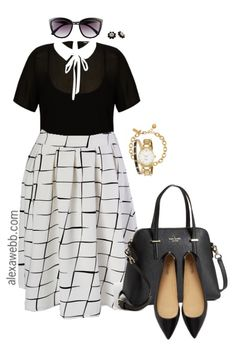 """The """"Kate Midington"""" skirt is a midi skirt with classic style and sophistication from Society+. It also has pockets, yasss! And it's available in sizes 14 – 32. Be sure to check out the red and black styles! Below I styled it for the office with a sheer collar shirt, which is classic with a… ReadMore"""