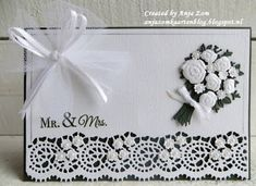 Handmade wedding card by DT member Anja with Creatables Bouquet (LR0505) and Lace Border (s) (LR0508) from Marianne Design