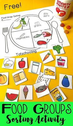FREE sorting activity for preschool and kindergarten to learn about the five main food groups. Teach kids about healthy eating and balanced meals. Includes both color and black and white versions and 20 images of food to sort in the correct group. #nutritioneducationactivities #nutritionquotesforkids
