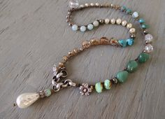 Pearl boho crochet necklace Bohemian Belle cottage by slashKnots, $140.00