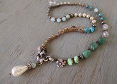 Pearl boho crochet necklace Bohemian Belle cottage by slashKnots