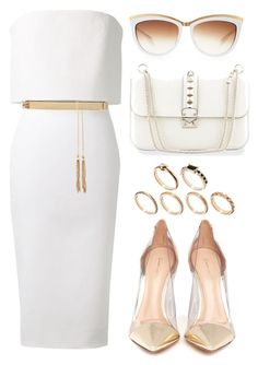 """""""White and Gold"""" by justvel ❤ liked on Polyvore featuring Victoria Beckham, Forever New, MICHAEL Michael Kors, Gianvito Rossi, Alexander McQueen, Valentino and ASOS"""