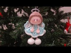 Angelo Amigurumi -Parte Tutorial Natale - Angel Crochet Christmas - Angelito Crochet - New Ideas Christmas Angel Ornaments, Crochet Christmas Decorations, Christmas Crochet Patterns, Christmas Knitting, Christmas Crafts, Crochet Ornaments, Crochet Snowflakes, Christmas Christmas, Crochet Angel Pattern