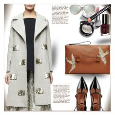 """""""Metallic Coat"""" by dragananovcic ❤ liked on Polyvore featuring Burberry, RED Valentino, Bobbi Brown Cosmetics, Lela Rose and Tiffany & Co."""