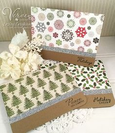 Quick handmade holiday cards by Lesley Croghan using sentiments from the Jolly Jingles and Glad Tidings stamp sets by Verve. #vervestamps