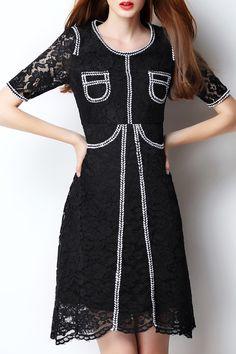 Guipure Lace Contrast Dress