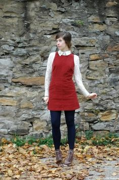 this red jumper dress, lace blouse, navy tights and brown lace up booties is just plain adorable! Jumper Outfit, Red Jumper, Dress Shirt, Cozy Fall Outfits, Cute Outfits, Mod Outfits, Pinafore Dress Outfit, Vintage Outfits, Winter Stil