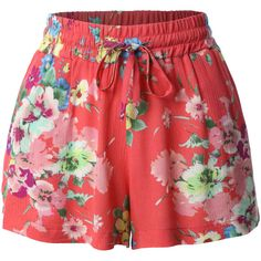 LE3NO Womens Lightweight Loose Floral Printed Summer Shorts ($8.99) ❤ liked on Polyvore featuring shorts, bottoms, skirts, summer shorts, elastic waistband shorts, stretch waist shorts, floral print shorts and floral pattern shorts