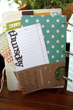 Use a Starbucks sleeve to make a pocket in your organizer High High Forge Christian College Diy Crafts For Adults, Adult Crafts, Crafts To Do, Arts And Crafts, Paper Crafts, Starbucks Crafts, Starbucks Hacks, Daisy Patches, Christian College