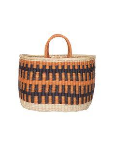 Bolsa de fibras de junco laranja, palha e marrom Nannacay
