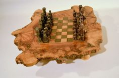 Olive Wood Rustic Chess Board Set Metal Pieces Tunisia 2 Drawers