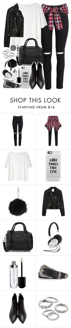 """""""Outfit for meeting friends with a leather jacket"""" by ferned ❤ liked on Polyvore featuring H&M, Acne Studios, Casetify, Topshop, Zara, Alexander Wang, Forever 21, Apt. 9 and Simply Vera"""