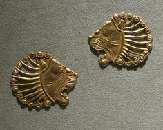Achaemenid Gold Jewelry: Appliques in the shape of a Lion's Head  #Achaemenids