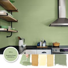 Paint Color Palette: Easy Being Green - Paint Colors For Your Home Green Paint Colors, Kitchen Paint Colors, Yellow Cabinets, Paint Color Palettes, Color Harmony, Green Kitchen, Wall Treatments, House Colors, Contemporary Style