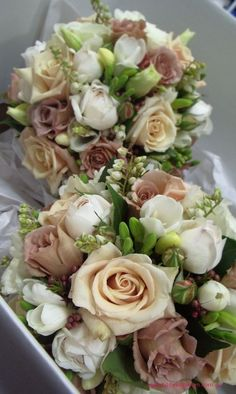 BG145 Antique champagne ` Sahara` roses, latte `Julia` roses, white David Austin roses, white freesias, Geraldton bud wax, pieris