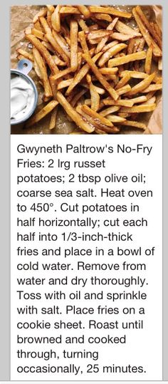 No-fry fries - Gwyneth Paltrow @Michael Dussert Dussert Boddie