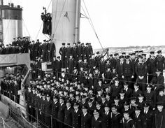 The ship's company of HMCS Assiniboine, Halifax Royal Canadian Navy, Lt Commander, Remember The Fallen, Rear Admiral, Canadian History, Navy Ships, Submarines, Aircraft Carrier, Photo Library