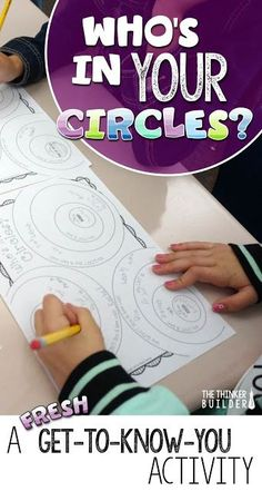 "Try this fresh get to know you activity for back to school, called ""Who's In Your Circles?"" Gets students up and moving to find out common interests they share with each other. Great way to work on those social skills as well. Get To Know You Activities, First Day Of School Activities, 1st Day Of School, Beginning Of The School Year, Middle School, High School, Back To School Art, School School, Starting School"