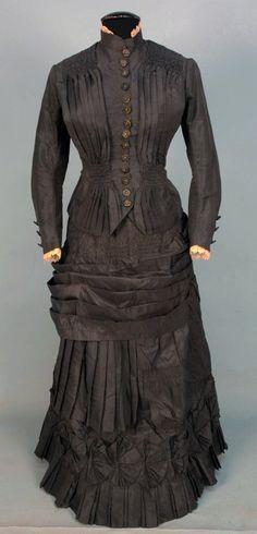 SILK TAFFETA BUSTLE DRESS, 1880's.