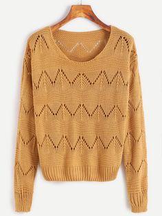 Khaki Drop Shoulder Eyelet Sweater