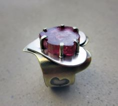 Aphrodisiac Ring with Watermelon Tourmaline, Heart Shape, Adjustable, Love and Spirituality, Romance, Heart Chakra, Metalsmithed by SilviasCreations on Etsy