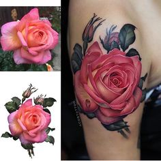 Search inspiration for a Realistic tattoo.Search inspiration for a Realistic tattoo. Cover Up Tattoos, Body Art Tattoos, Sleeve Tattoos, Rose Tattoos For Women, Pink Rose Tattoos, Beautiful Flower Tattoos, Pretty Tattoos, Design Rosa, Coloured Rose Tattoo