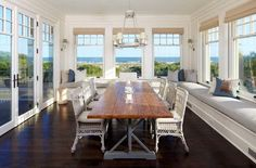 Home Design and Interior Design Gallery of Great Beach House Sunroom Furniture Ideas With Window Seats Sunroom Furniture, Space Furniture, Wood Furniture, Furniture Ideas, Furniture Design, Dream Beach Houses, Dining Room Design, Sunroom Dining, Dining Table