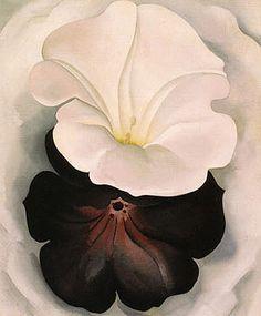 Georgia O'Keeffe Black Petunia and White Morning Glory II 1926 - Reproduction Oil Paintings