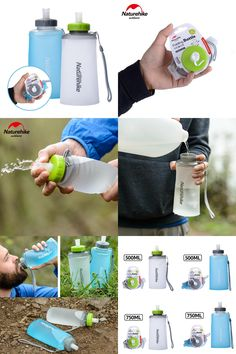 [Visit to Buy] Naturehike Portable Silicone Folding Water Bag Sport Camping Outdoor Cup Water Bags Drinkware With Straw Kettle Travel Bottles #Advertisement