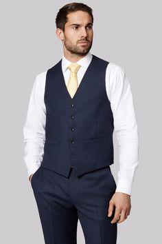 Savoy Taylors Guild Regular Fit Navy Birdseye Waistcoat