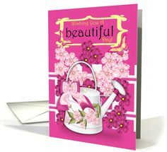 Birthday Greeting Card With Flowers And Watering Can card (917497)